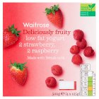 Waitrose 4 deliciously fruity strawberry / raspberry low fat yogurts - 4x125g