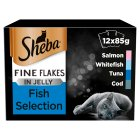 SHEBA Fine Flakes Cat Pouches Fish Collection in Jelly 12 x 85g - 12x85g